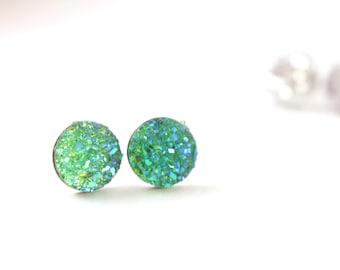 Green Glitter Earrings, Grass Green Druzy Stud Earrings, Green Druzy Earrings, Druzy Post Earrings, Surgical Stainless Steel Earrings
