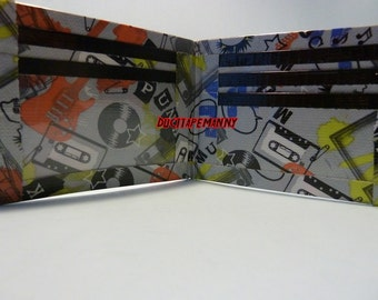 handmade duct tape wallet with punk rock items all over it