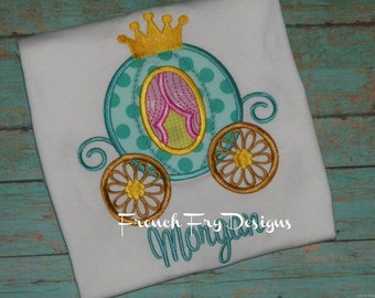 Customized Princess Carriage Applique T-Shirt