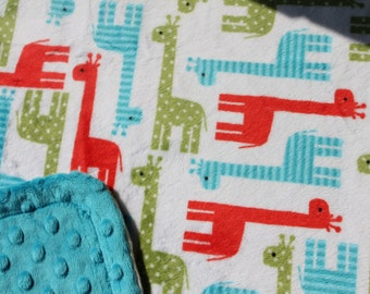 Minky Blanket - Giraffe Print Minky with Turquoise Dimple Dot Minky Cuddle Backing - new baby, stroller blanket