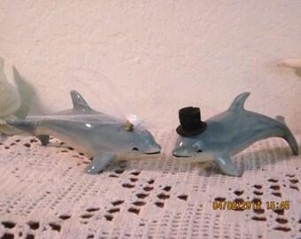 Wedding Cake Topper Set Aqua Blue Dolphin Couple Beach Coastal Seaside Ocean Tropical Island Destination Florida Hawaii Bahama Sea Ceramic