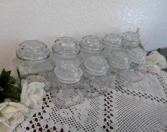 Vintage Apothecary Clear Glass Storage Jar Craft Office Organizer Cottage Kitchen Home Decor Wedding Bridal Baby Shower Candy Bar Buffet