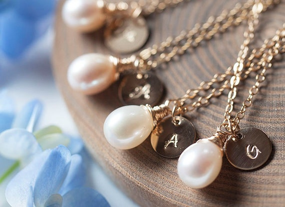 Set of 5: Personalized initial and Freshwater Pearl Gold Necklace, Bridal Party jewelry, bridesmaid gift set, Romantic weddings-Fifi LaBonge