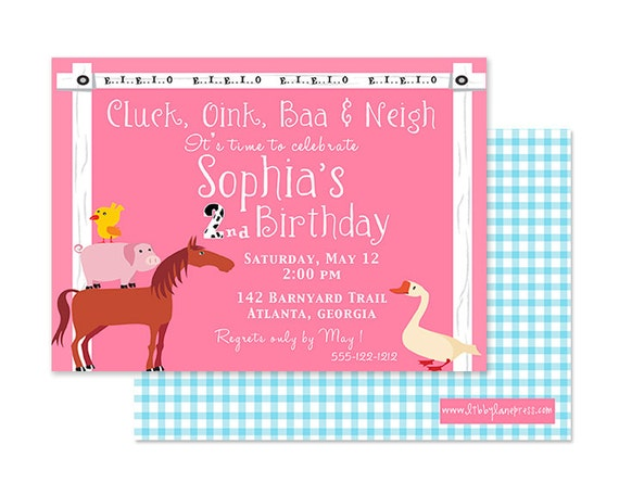 Down on the Farm, Barnyard GIRL Birthday Invitation, Pink, PRINTABLE by Little Libby