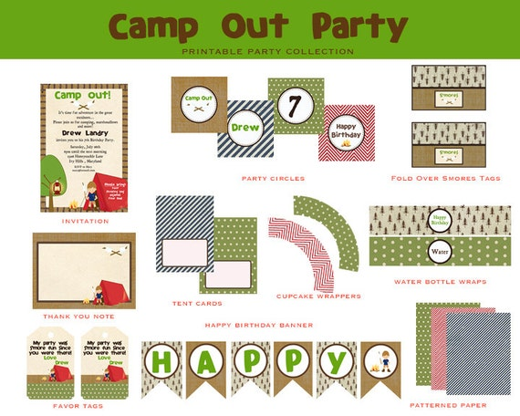 CAMP OUT Birthday- Full Party Printable Package (Camp Out Invitation and Decorations)