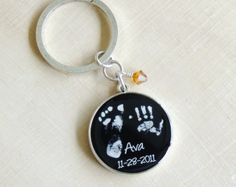 New Dad Gift Keychain, Custom Keychain For Dad, Made From Your Baby's Actual Prints, New Mom Dad Gift, Christmas Gift For Dad From Baby
