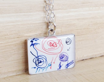 Kid's Artwork Necklace - Mom Necklace - Kid's Artwork Jewelry - Custom Artwork - Child's Handwriting - Mother's Day Jewelry - Mommy Necklace