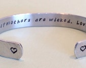 "Stepmother gift ""not all stepmothers are wicked. Love, (name)"" hand stamped 3/8"" bracelet with hidden message inside"