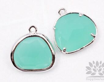 F119-02-S-MT// Silver Framed Mint Glass Stone Pendant, 2Pcs