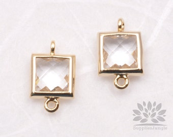 F140-G-CR// Gold Framed Clear Faceted Square Glass Connector, 2 pcs