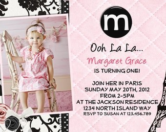Paris Theme Birthday Party Invitation Damask Pink and Black with Eiffel Tower Printable Invite