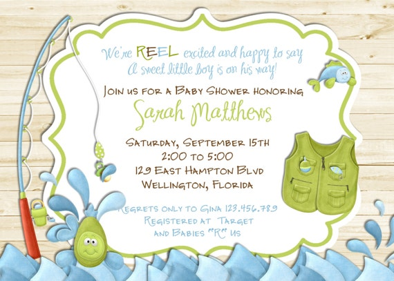 rustic white wood fishing baby shower invitation fish and rod