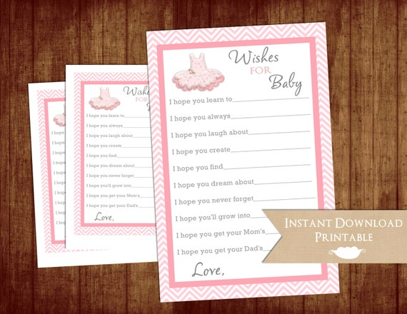 Pink Tutu Wishes for Girl Baby Shower Printable INSTANT DOWNLOAD