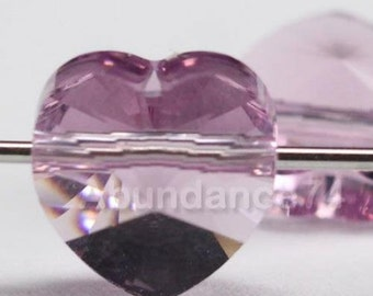 Swarovski Crystal Elements 5742 Heart Beads LIGHT AMETHYST - Available in 8mm and 10mm