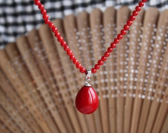 free shipping - 4 mm red coral analogues necklace & shell pearl pendant 12*15mm