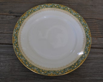 Vintage handpainted French Limoges green and gold salad plate dish china