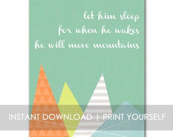 Move Mountains INSTANT DOWNLOAD Print Boys Nursery