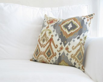 neutral couch pillow, grey orange ikat pillow cover, chair pillow, 20x20 inch decorative pillows, earth tone pillows, ikat throw pillows
