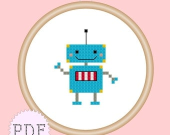 Kawaii Robot Mini Cross Stitch Pattern PDF INSTANT DOWNLOAD