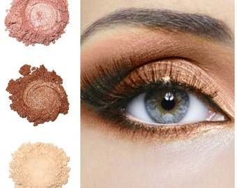 Orchid Blue Cosmetics Mineral Eye Shadow Trio - Beach Baby Brown Collection