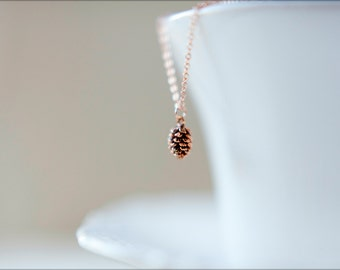 Tiny Pinecone Necklace, Available in Antiqued Silver, Antiqued Rose Gold and Antiqued Gold
