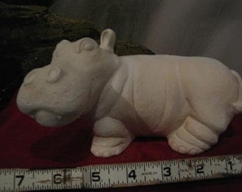 Standing Hippo, Jungle Animal, realistic Hippo, hippopotamus, Ready to paint, u-paint, Ceramic bisque