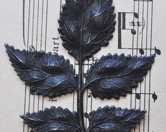 Large brass leaf spray stamping, Black satin finish