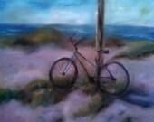 Bicycle on the beach, blue bike, outdoors, beach art, Florida, original oil painting, beach decor, bike alone in the sand, holiday art sale