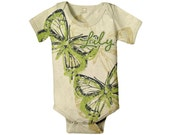 Green Butterfly Baby Bodysuit - Personalized Custom Girl's Snapsuit
