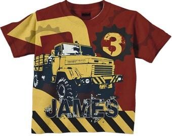 Dump Truck Shirt, Personalized Boys Construction Birthday Number T-Shirt