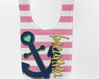 Girl's Anchor Baby Bib, Personalized Nautical Baby Bib, Baby Girl Bib, Custom Infant Bibs