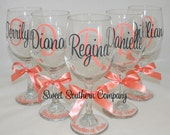 4 Monogrammed Wine Glasses - Choose Your Font - Great for Bride and Bridesmaids Gifts