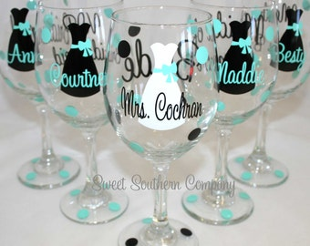 6 Personalized Bride and Bridesmaid Wine Glasses with Strapless Gown