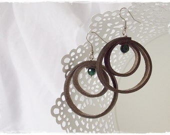 Hoop Leather Earrings, Large Brown Hoops, Large Hoop Earrings, Celtic Earrings, Nordic Leather Hoops, Elven Earrings, Wiccan Leather Jewelry