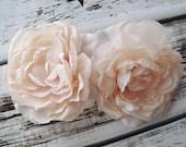 Wedding Bridal Hair Flower - Victorian Light Blush Pink Fascinator - Alligator Clip - Romantic and Dainty - English Cabbage Roses