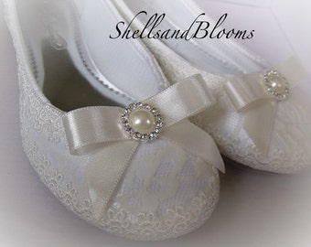 Wedding Bridal Ballet Flat Shoes - Vintage ivory cream lace - Rhinestone and Pearls - Embellished - bridesmaids - eyelet trim