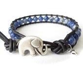 Elephant bracelet, girls bracelet with tiny silver heart charm, gift for daughter, 6mm sodalite beads, pacific blue distressed leather