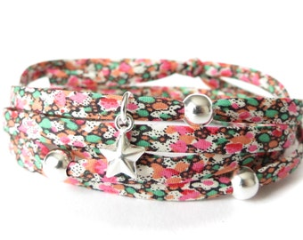 Liberty fabric wrap, star bracelet with printed cotton fabric , 925 sterling silver beads and star charm, pink, orange, green and white