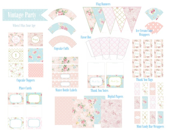 Vintage Shabby Chic Party Printable Collection