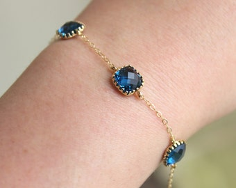 Sapphire Bracelet Gold Plated Navy Blue Bracelet - Bridesmaid Gift - Bridesmaid Bracelet - Bridesmaid Jewelry Navy Sapphire Wedding Jewelry