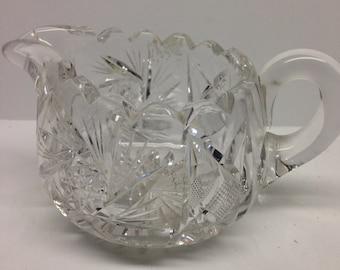 Pressed Glass Creamer Heavy Lead Crystal Vintage 8 oz 3 x 2