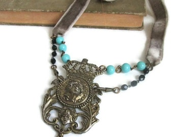 Art Nouveau Assemblage Necklace Spring Statement Jewelry