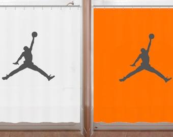 Basketball Shower Curtain air jordan jumpman bathroom decor orange bath kids