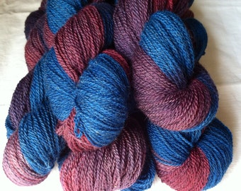 Berrylicious, Jacob Wool Sock Yarn in Purple and Blue, Fingering Weight, 400 Yards