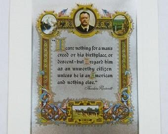 Vintage 1970's L.G. Leblanc Teddy Roosevelt Quote Color Foil Etch Print