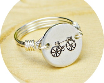 Bicycle Ring- Hand Stamped Sterling Silver Filled Ring- Any Size- Size 4, 5, 6, 7, 8, 9, 10, 11, 12, 13, 14