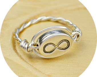 REVERSIBLE Infinity Symbol Ring- Sterling Silver Filled Wire Wrap with Sterling Silver Bead - Any Size 4, 5, 6, 7, 8, 9, 10, 11, 12, 13, 14