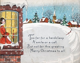 Christmas Poem Postcard - Vintage Christmas Art