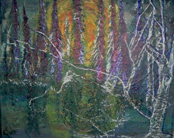 Original Winter Tree Sunset in the Woods Mixed Media  Abstract Canvas Painting Wall Decor - 10x12x2 inches