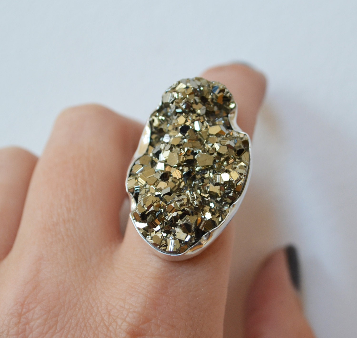 Pyrite Ring Sparkly Fools Gold Ring Sterling Silver Ring